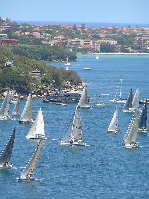 Image of the start of a recent Sydney to Hobart yacht race, which gets under way each Boxing Day. Not long now! Search SLNSW collection for shots of past races here http://www.sl.nsw.gov.au/