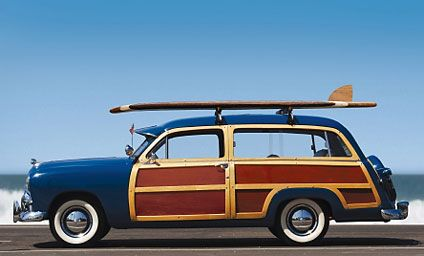 Would love to incorporate some classic surf cars like this woody wagon into the nursery theme. Maybe an applique on a pillow or on some wall decor...