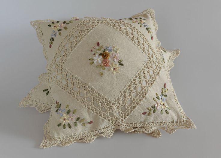 """RIBBON EMBROIDERY & CROCHET LACE CUSHION COVER SOFA PILLOW CASE THROW 16"""" SHABBY"""