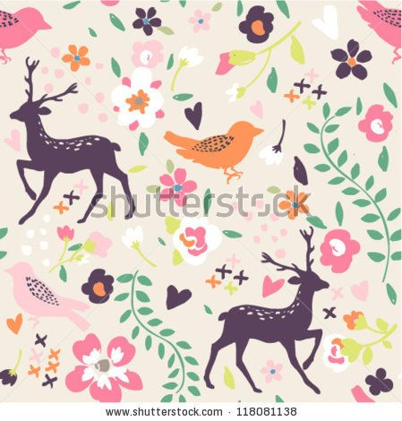 seamless cute vintage tiny flower with leaf  pattern background by SalomeNJ, via Shutterstock