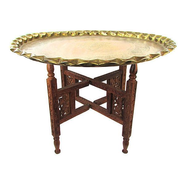Pre Owned Moroccan Brass Tray Accent Table 375 Liked On