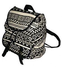 High Fashion Aztec Southwest Print Heavy Duty Canvas Backpack (Black)