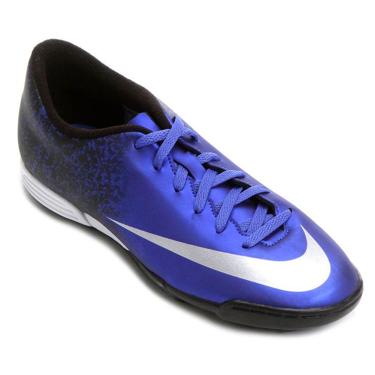 Chuteira Nike Mercurial Vortex 2 CR7 TF Society Azul e Prata | Netshoes
