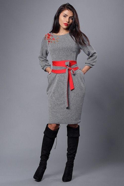 da2878e4a9d Платье батал из итальянского плотного трикотажа серое ромб -  Интернет-магазин стильной одежды