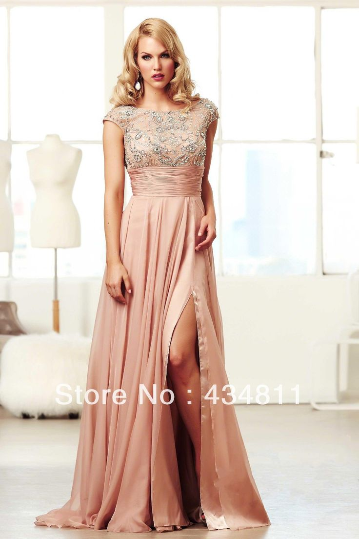 Hollywood Vintage Style Embelished Beading Illusion Neckline Cap Sleeve Sexy Backless Prom Dresses With Ruched