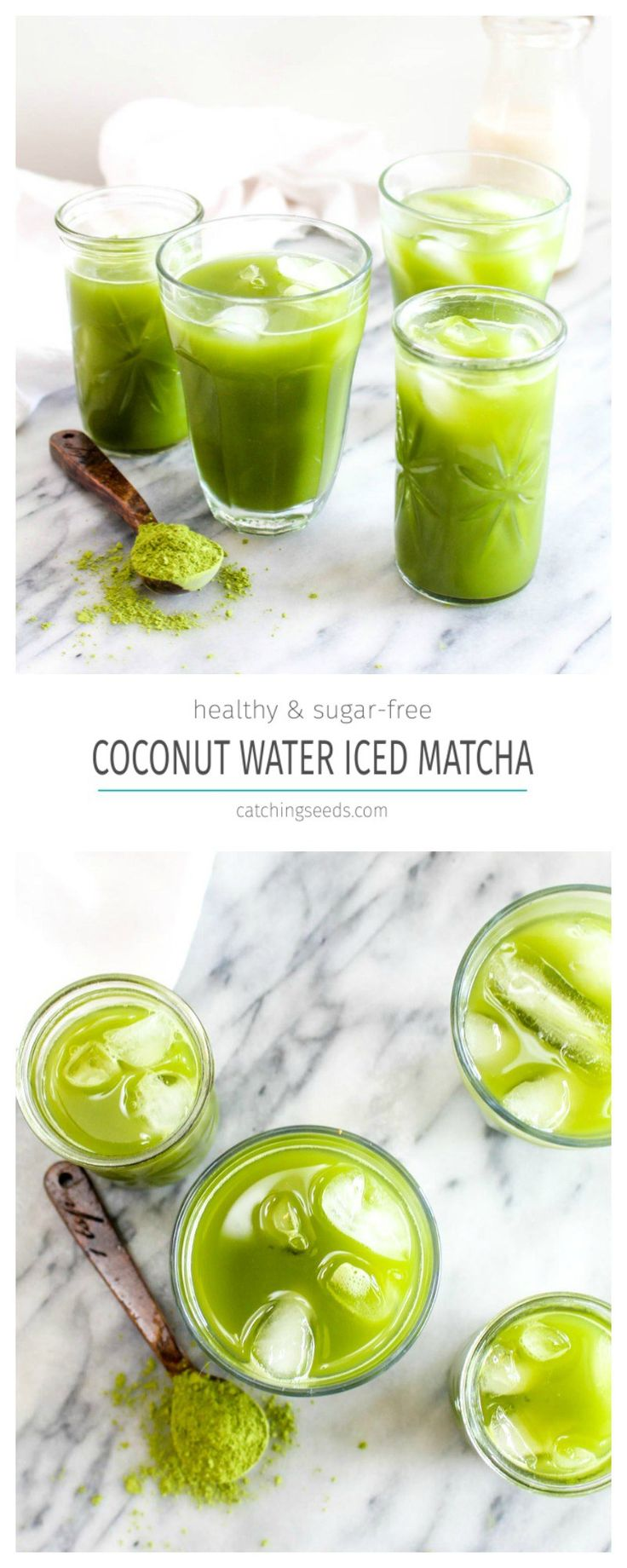 This Iced Coconut Water Matcha Latte is a 5 minute, 2 ingredient drink recipe that is full of healthy antioxidants. It will give you sustained energy for hours! | CatchingSeeds.com