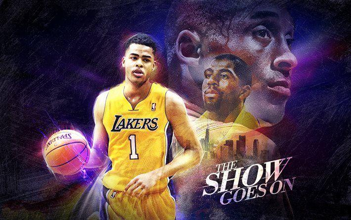 Télécharger fonds d'écran DAngelo Russell, de la NBA, les Lakers de los angeles, les stars de basket-ball, les Los Angeles Lakers