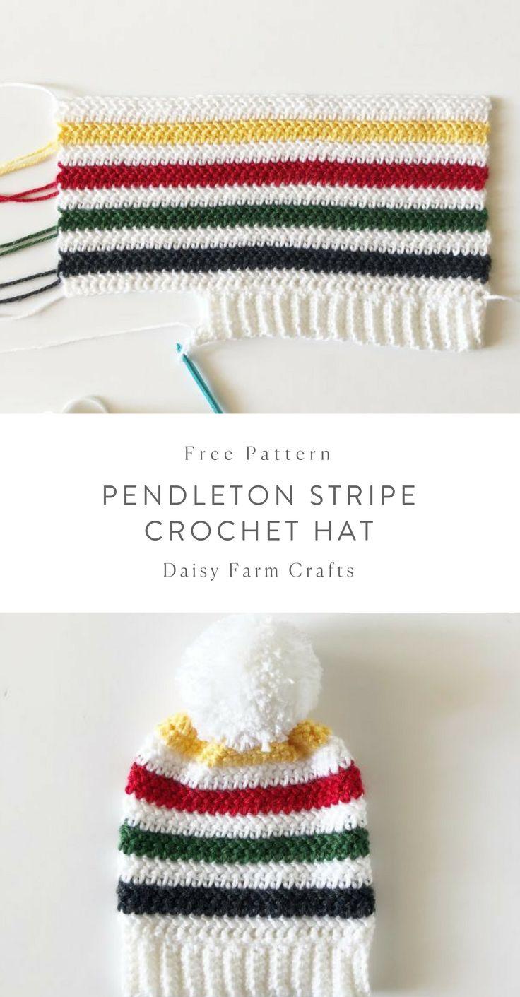 Free Pattern – Pendleton Stripe Crochet Hat – Joy Hooper