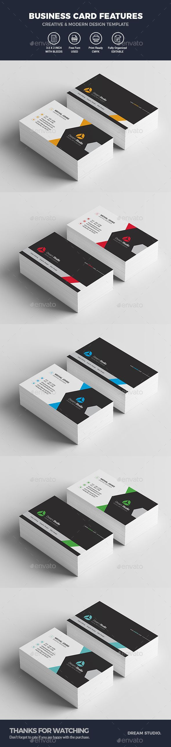 Modern #Business #Card Template - Business Cards Print Templates Download here: https://graphicriver.net/item/modern-business-card-template/19885905?ref=alena994