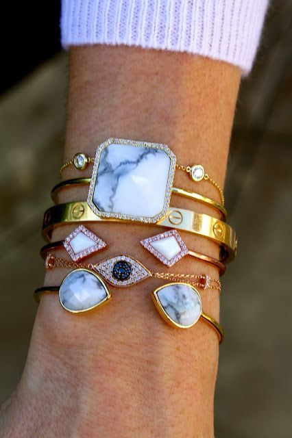 Love the stacked bracelets look