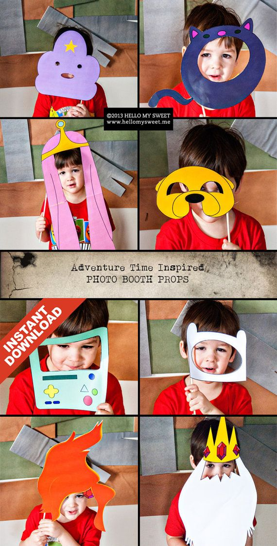 Adventure Time Photo Booth - INSTANT DOWNLOAD - Printable Party Props - Finn Jake Princess Bubblegum BMO Gunter on Etsy, $8.00