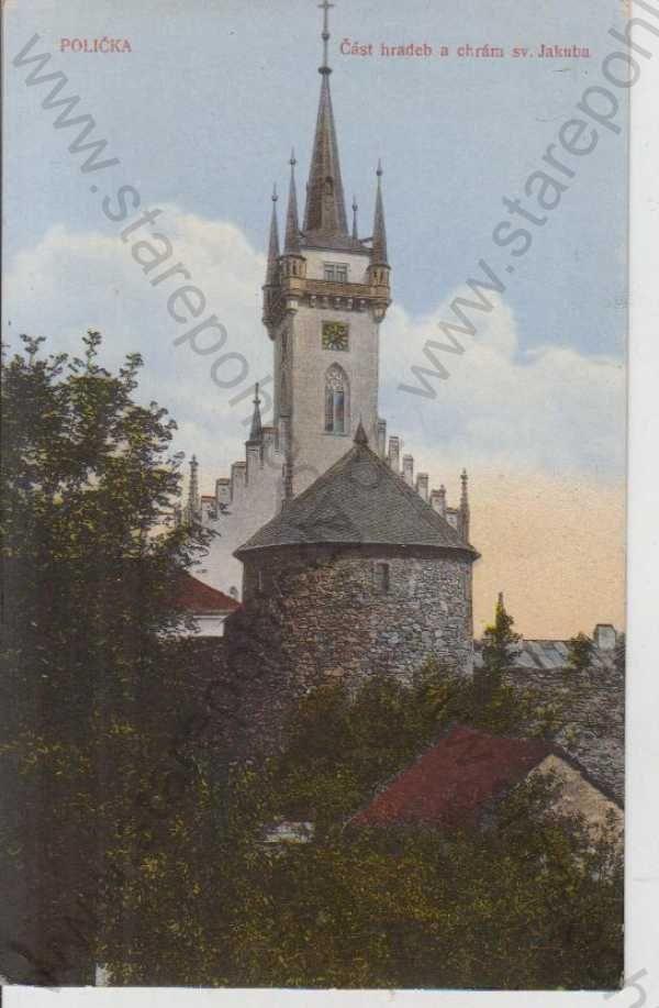 - Polička, chrám sv. Jakuba, část hradeb, kolorovaná