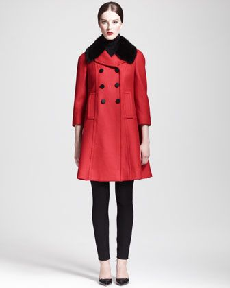 Mink-Collar Princess Coat, Cashmere Turtleneck Sweater & High-Waist Crepe Leggings by Dolce & Gabbana at Bergdorf Goodman.