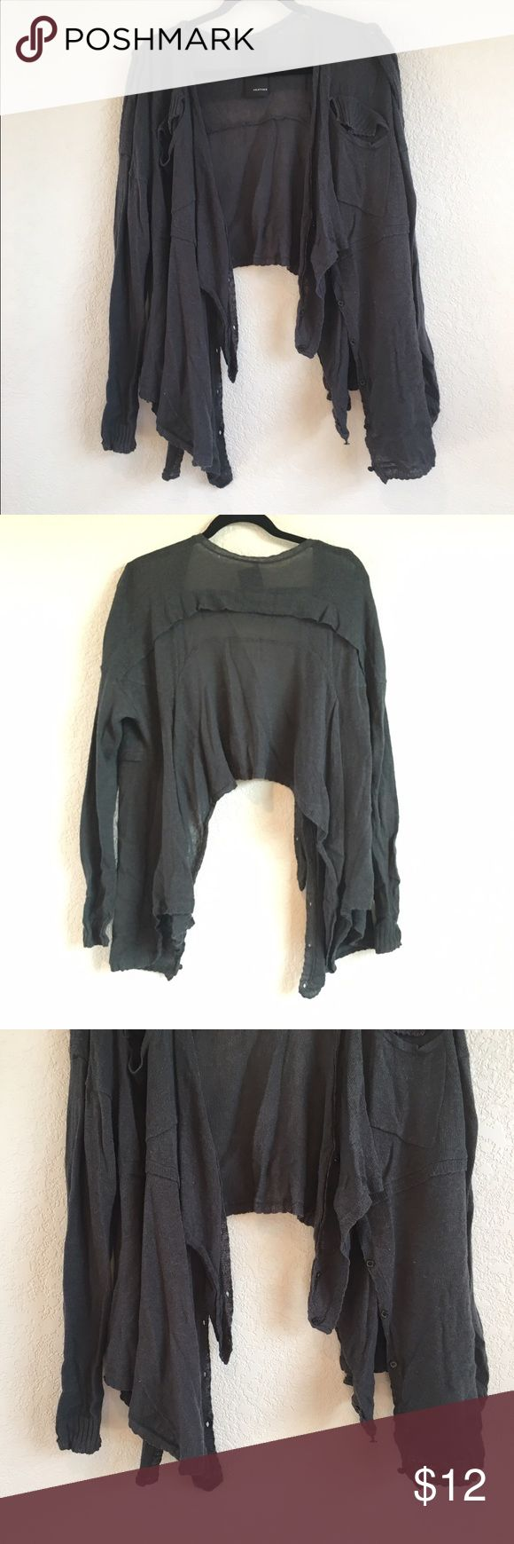 Dark Olive Green Cardigan Unique Cardigan! Dark olive green color with a jagged hem and button up scars like detail! Back comes up higher than front hem but super cute and Free People-esque! Great condition! Sweaters Cardigans