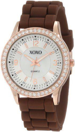 XOXO Women's XO8053 Brown Rubber Rhinestones Accented Watch XOXO. $19.99. Buckle clasp. Clear rhinestones bezel. Quality quartz movement. Case diameter: 40mm. Rosegold-tone round case