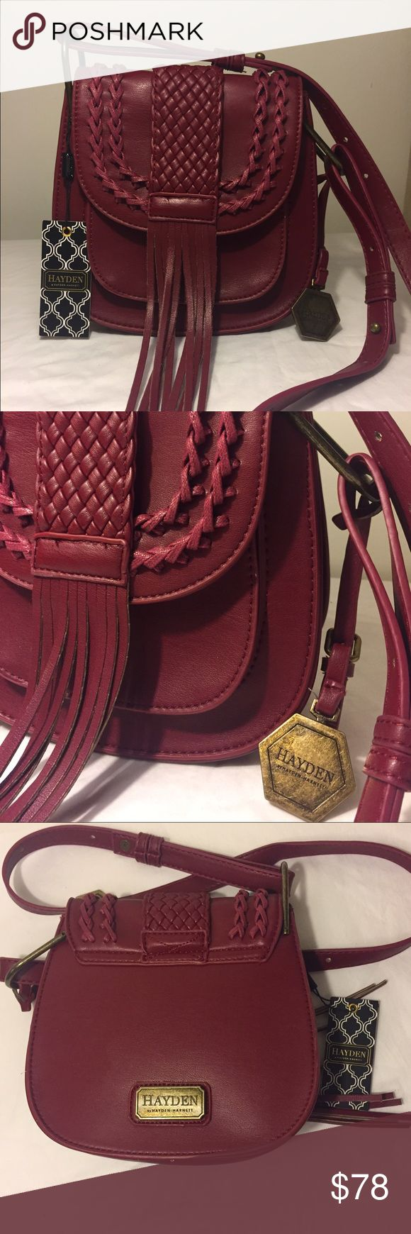 NWT‼️Hayden by Hayden Harnett Leather Bag. NWT‼️Hayden by Hayden Harnett Bohemian Chic Saddle Bag. Wine color comes with dust bag. Adjustable straps for cross body or shoulder. Interior pockets one zipped and one for phone . Exterior under flap pocket. Bags Crossbody Bags