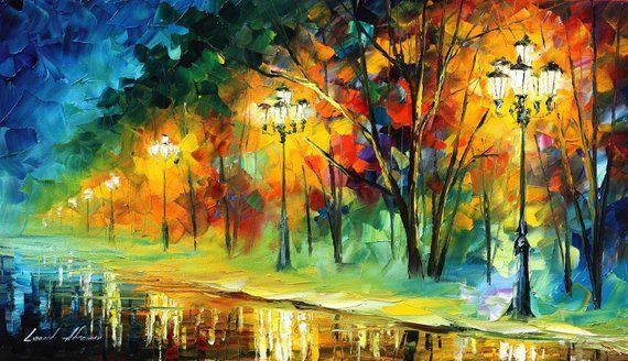 Home Aesthetic Art Home Decor Living Room Beautiful Painting On Canvas By Leonid Afremov Happy Lights Size 25 Painting Art Painting Oil Modern Oil Painting