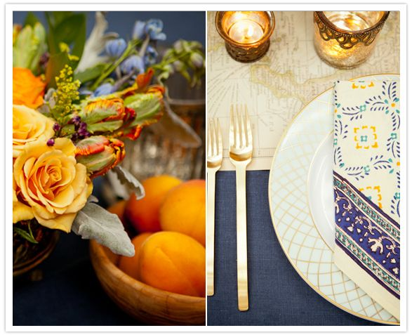 Navy Tablecloths, With Gold Cutlery, And Ivory Plates With Gold Details