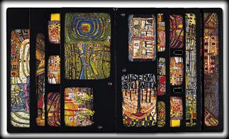 Hundertwasser designed this catalogue on the occasion of a travelling exhibition of his new paintings in five galleries in New York, Tokyo, Hamburg, Oslo and Vienna from 1979 to 1981.