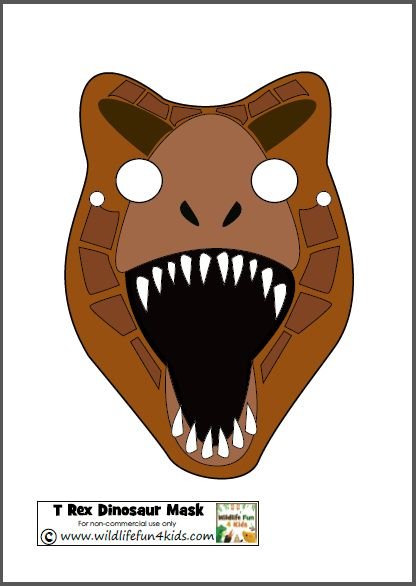 Printable Dinosaur Masks for Prehistoric Play Wildlife Fun 4 Kids