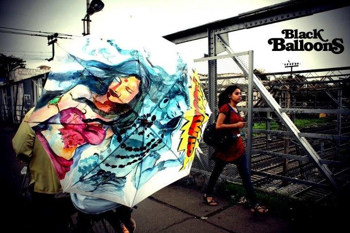 Urban Umbrella Concept.: Umbrellas Design, Portable Street, Handpaint Umbrellas, Urban Art, Street Art, Artists Ideas, India Art, Black Balloon, Blackballoon