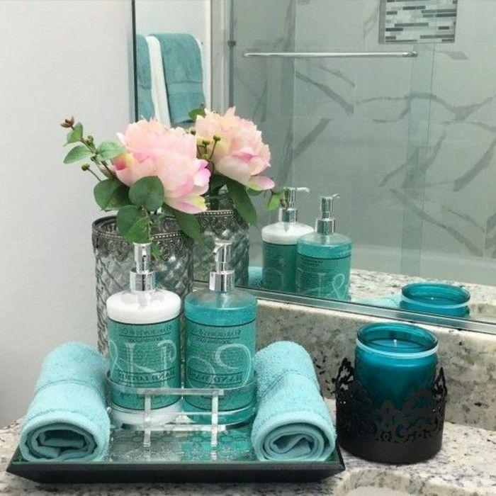 1001 Ideen Fur Eine Stilvolle Und Moderne Badezimmer Deko Wohnzimmerdeko In 2020 Small Apartment Bathroom Bathroom Counter Decor Turquoise Bathroom