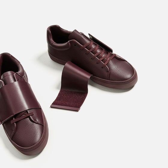 Image 2 of BURGUNDY SNEAKERS WITH XL STRAP from Zara