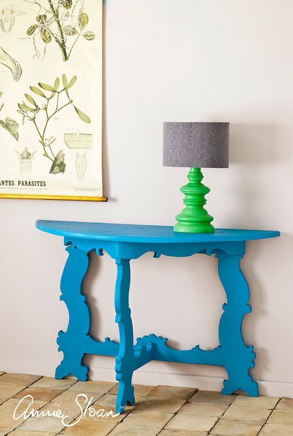 7 best annie sloan chalk paint fabric images on pinterest table painted in chalk paint in new cool blue giverny demilune tableannie sloan gumiabroncs Image collections