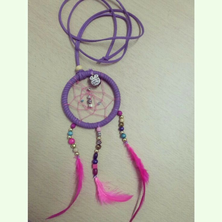 DIY drramcatcher necklace made using faux suede cord .beads, owl porcelain charm ,embroidery thread & feathers!