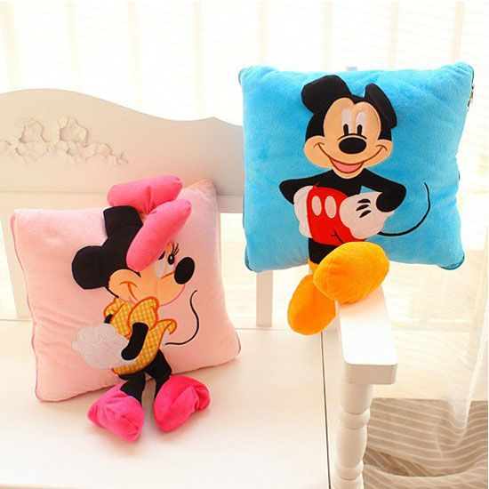 35cm Creative 3D Mickey Mouse and Minnie Mouse Plush Pillow Kawaii Mickey and Minnie Plush Toys Kids Toys Christmas Gifts  ($4.75)