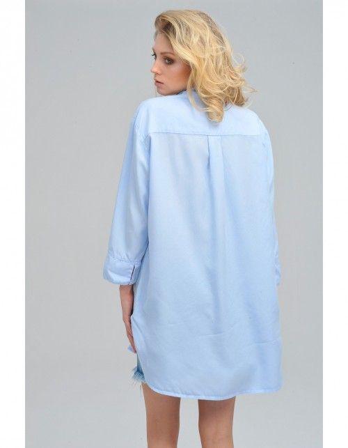 koszula z rękawami 3/4 kryte guziki 100% tencel pranie delikatne w 30 stopniach modelka (170 cm) nosi rozmiar S