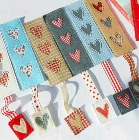 Heart patchwork bookmark