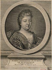 Aulnoy Marie d' : Portrait de Marie-Catherine Le Jumel de Barneville , baronne d'Aulnoy. - Femme de lettres françaises (1650-1705), Marie Catherine Le Jumel de Barneville, comtesse d'Aulnoy par son mariage, eut en son temps quelque renommée par son sens du polissage, usant d'allégories et de satires, elle a insufflé un esprit subversif. Son travail littéraire est  rapproché de celui de Jean de la Fontaine pour sa critique masquée de la cour et de la société française du 17°s.