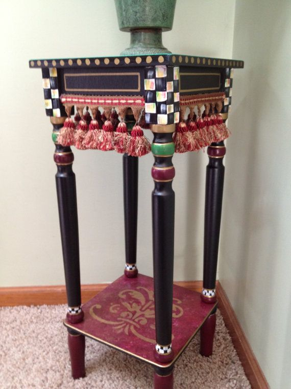 Whimsical Painted Table Painted End Table Custom Painted End