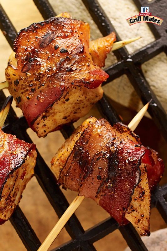 Smoky, maple-seasoned bacon-wrapped chicken makes for a bite-sized grilled party appetizer. The perfect crowdpleaser for summer cookouts.