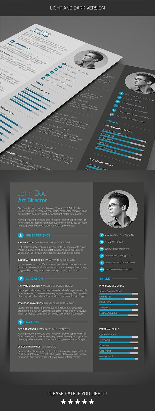 Professional 3-piece Resume template with clean and trendy layout.