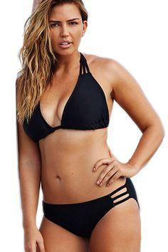 Swim Sexy Black Triangle String Plus Size Bikini LAVELIQ