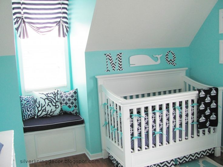 Baby boy nautical nursery.  Love the idea of navy paired with a fun blue, but I'd prefer a lighter aqua to this rich turquoise.