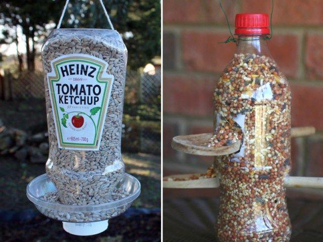 A partir d'un tube de ketchup ou d'une bouteille plastique - Source : Wildlifegadgetman.com