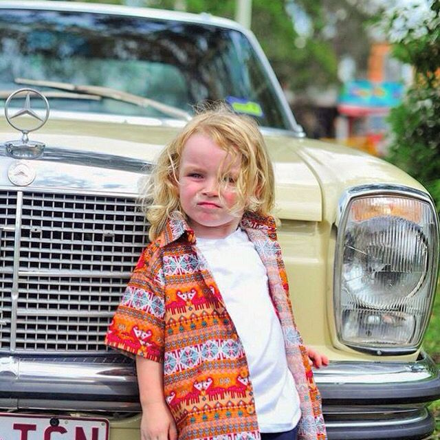 "BRETT SHIRT. This gorgeous button up is a very stylish outfit, with its amazing pattern this shirt can be worn buttoned up or with a shirt underneath. This is the brand ""NOT TELLING"" and is only sold at the Byron baby shop in Byron bay. The car is gorgeous classic 1973 Mercedes 2door. PHOTOGRAPHY BY FLICK PHOTOGRAPHY www.byronbabyshop.com.au. #280c #w114 #classiccar #classicmercedes #1973 #mercedes #kidswag #buttonup #kidswear #kidsfashion #kidsclothing #childrenphoto #swag #babystore…"