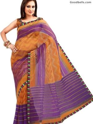 Mustard & Purple Shade Beautiful Saree   $35.00   http://goodbells.com/saree/mustard-and-purple-shade-beautiful-saree.html