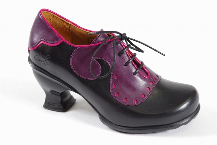 Viv - John Fluevog: How much fun is Viv? Black and purple lace with low heel and durable rubber outsoles. Leather uppers with leather linings. http://millershoes.com/shop/casual/viv/