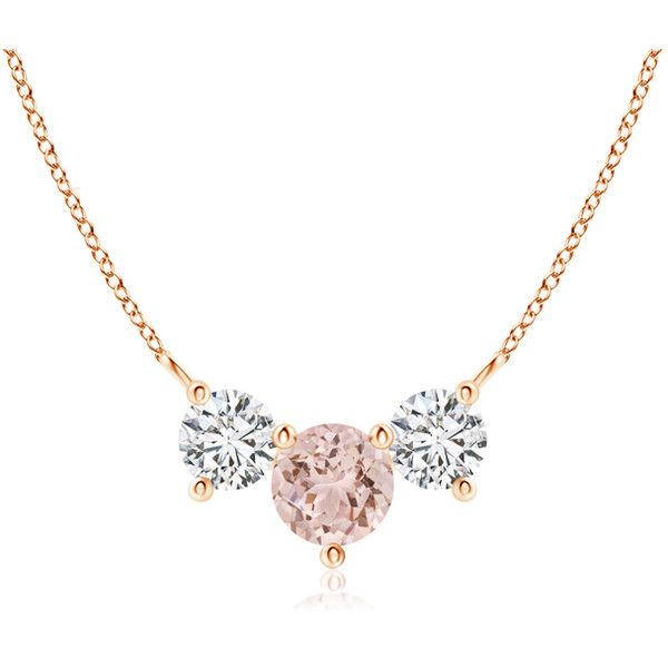 Classic Trio Morganite and Diamond Necklace Past Present Future (4,425 PEN) ❤ liked on Polyvore featuring jewelry, necklaces, diamond necklace, pendant necklaces, 14 karat gold necklace, diamond jewellery and 14k necklace