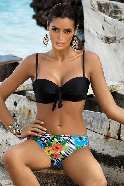c8a17ed6d0854 Pretty Bikini Set 2018 Sexy Print bowknot Push Up Swimwear Female Women  Bikinis Swimsuit Beach wear Bathing Suit Flower pants Biquini KO 24 2 in  2018 ...