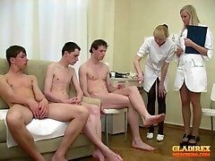 Crazy Female Doctors and young boys - group medical examinations.