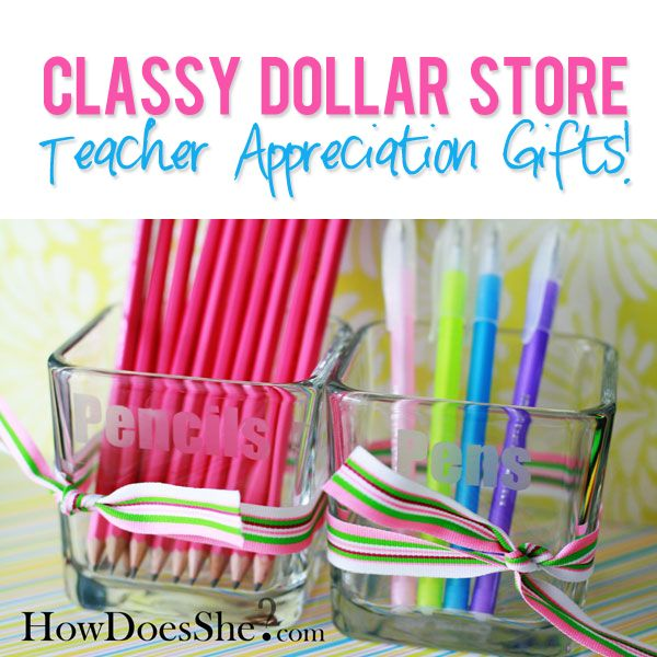 dollar store items need not be cheap looking.  Here are a few ideas for teacher gifts. I really want to make these!