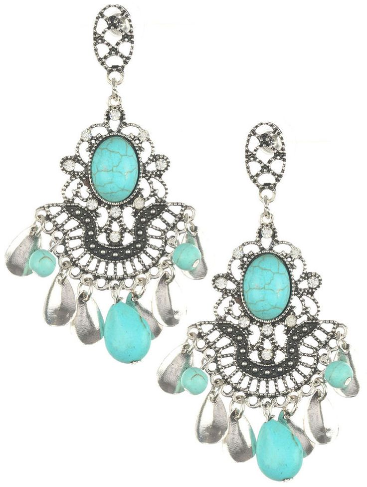 Turquoise Silver Color Tear Drop Dangle Earrings Southwestern Chandelier #SP #Chandelier