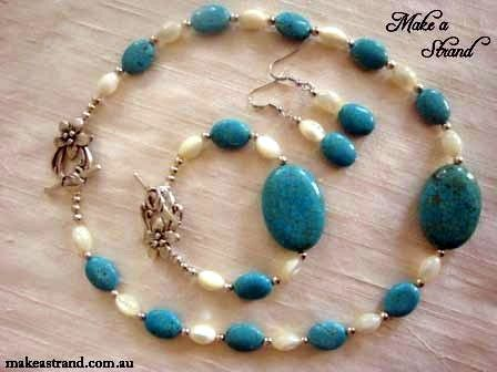 Blue turquoise choker, bracelet & earrings set combined with luminous mother-of-pearl oval beads In stock: Necklace & earrings set AU$150 + postage (Bracelet sold)