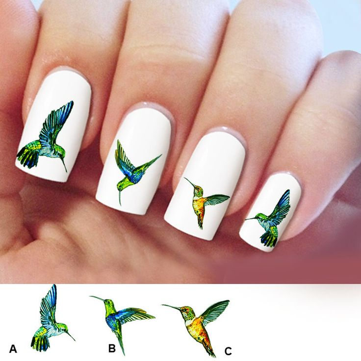 Hummingbird, nail art, 60 nail decals, Humming bird Nail Art design,  Water Slide nail Decals, #HM001 by Marziaforever on Etsy https://www.etsy.com/listing/223222318/hummingbird-nail-art-60-nail-decals