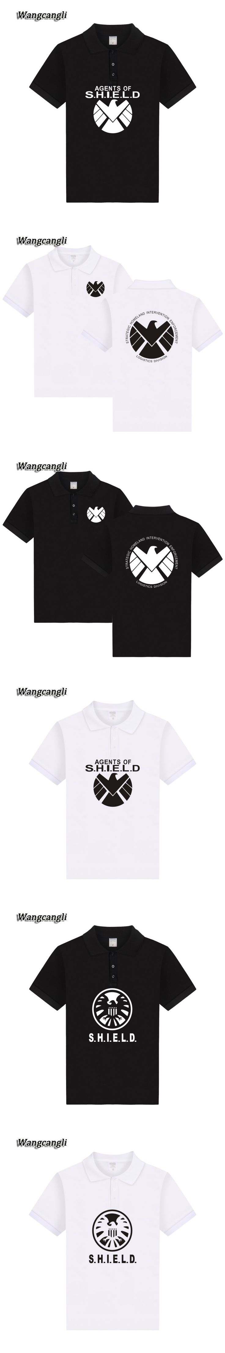 2017 Avengers Agents of S.H.I.E.L.D.  print  polo shirt Men Fashion Cotton Tee tops brand clothing Unisex polo shirt